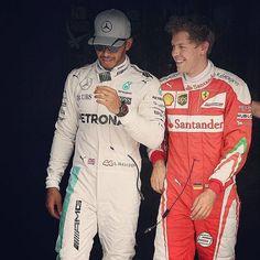 Sebastian Vettel with Lewis Hamilton at the end of qualifying, today at Monza.  #SebastianVettel #Vettel #SebVettel #SV5 #Seb5 #ForzaSeb #Ferrari #ScuderiaFerrari #ForzaFerrari #RedSeason #F12016 #F1 #Formula1 #prancinghorse