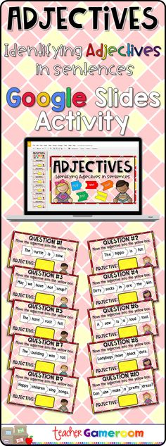 First grade students read sentences and move the adjective to the yellow box. There are 30 questions. Each sentence has 4 to 6 words and only 1 adjective to choose from#teacher #iteachtoo #teacherspayteachers #education