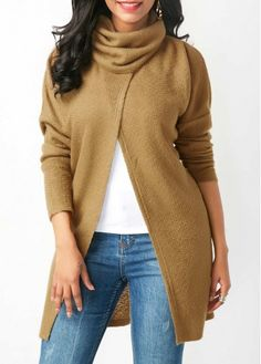 Crossover Hem Cowl Neck Tan Brown Blouse on sale only US$33.95 now, buy cheap Crossover Hem Cowl Neck Tan Brown Blouse at liligal.com