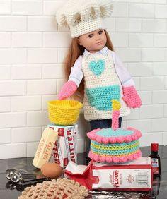 Baking Chef Doll free crochet pattern for American Girl dolls Knitting Dolls Clothes, Crochet Doll Clothes, Girl Doll Clothes, Doll Clothes Patterns, Doll Patterns, Girl Dolls, Easy Patterns, Pattern Ideas, Barbie Doll