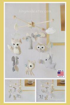 Baby Mobile Nursery Decor Woodland Mobile Animals by hingmade