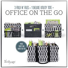 Mom Office-on-the-Go! Three Fold 'n Files fit PERFECTLY in a Deluxe Utility Tote. When you wear many hats...working mom, PTA President, Girl Scout Troop Leader...keep all the paperwork organized and at your fingertips! Check it out! http://www.mythirtyone.com/meaganseymour