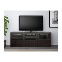 BESTÅ TV unit with doors and drawers - Lappviken/Sindvik black-brown clear glass, drawer runner, push-open - IKEA
