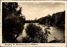 Ansichtskarte / Postkarte Kaliningrad Königsberg Ostpreußen, Abendstimmung am Schlossteich
