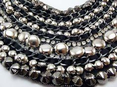 Big Necklace, Grey Metal Beads, Shiny Stones, Collar Necklace, Handsewn,  Beadmaking, $30.00