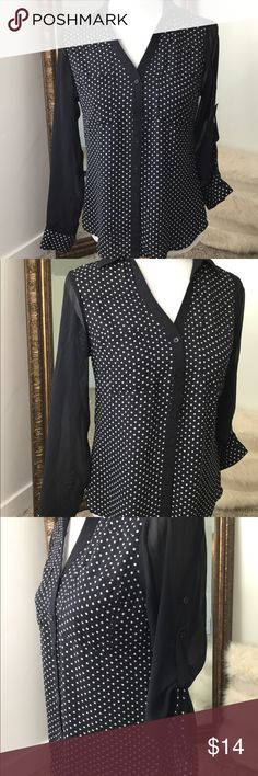 bdf33ab67f079 Express The Portofino Shirt polka dots So cute. Black and white polka dots.  EUC