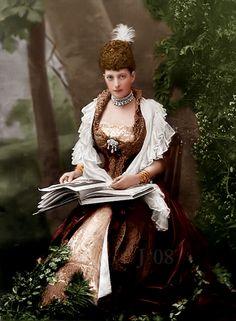 "Princess Alexandra Caroline ""Alix"" (Alexandra Caroline Marie Charlotte Louise Julia) (1844-1925) Denmark the wife of Prince Albert Edward (King Edward VII) (1841-1910) Prince of Wales, UK. 2nd Child of King Christian IX (1818-1906) Denmark & his 2nd cousin Louise (1817-1898) Hesse-Kassel, Germany."
