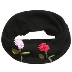Girls Black Cashmere Snood Scarf with Flowers, RoRo, Girl