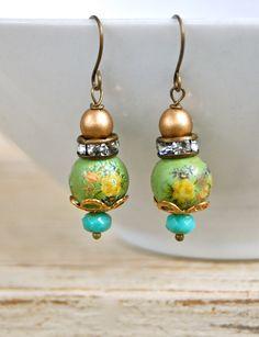 Green tea. bohemian beaded floral rose earrings. Tiedupmemories by tiedupmemories on Etsy https://www.etsy.com/listing/95894023/green-tea-bohemian-beaded-floral-rose