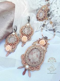 Bead Embroidered Floral Earrings with Sunstone Gemstone Rose