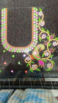 Kids Blouse Designs, Simple Blouse Designs, Blouse Neck Designs, Latest Embroidery Designs, Machine Embroidery Designs, Mirror Work Blouse Design, Maggam Work Designs, Hand Work Embroidery, Saree Blouse
