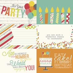 Let's Party 4x6 Horizontal Journaling Card Elements