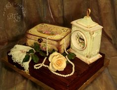 """""""Golden Age."""" Author's painting. Love the elegant vintage look. Clock, Jewelry Chest, Handkerchief, Pearls"""