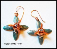 Earrings  Spinning  copper  patinaed gunmetal silver by Buglys, $20.00