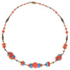 Buy Alice Joseph Vintage 1930s Coro Beaded Flower Necklace, Coral Online at johnlewis.com