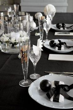 New years eve table setting in black and white tones.