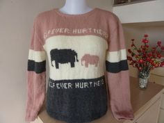 Hand knit self design Merino wool long sleeve pull by RainbowKnit, $150.00