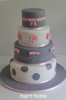 Grey, pink & white dots & ribbons cake