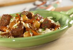 This simple but sophisticated stew features tender beef and vegetables simmered in a delectable sauce - and it's fork tender and delicious in less than 40 minutes.