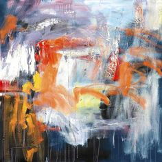 Energetic abstract piece with oranges, reds, and blues.