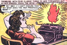 It's the TYPEWRITER OF FLAME! Wonder Woman #28 (1948) by William Moulton Marston & H.G. Peter