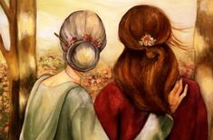 Mother and daughter our walk art print by claudiatremblay on Etsy Art Prints, Art Painting, Sketches, Art Drawings, Drawings, Painting, Illustration Art, Art, Original Watercolors