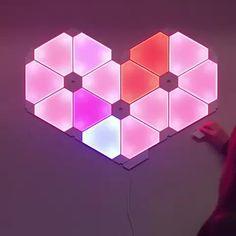 Cool heart-shaped nanoleaf design perfect for gamer girls @nanoleaf #nanoleaf #gameroomdesign #gamingrooms #design #alvesun Nanoleaf Designs, Nanoleaf Lights, Minecraft Banner Designs, Light Games, Ceiling Light Design, Gaming Room Setup, Home Theater Rooms, Kawaii Room, Game Room Design