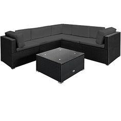 Deuba Poly Rattan Garden Furniture Lounge Corner Sofa Set Black Anthracite Large 20pcs Polyrattan Outdoor