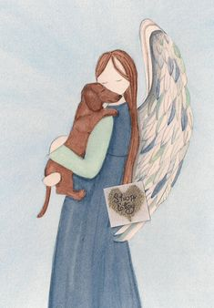 Excited to share the latest addition to my #etsy shop: Brown shorthaired dachshund with Angel (profile) / Lynch signed folk art print (Weiner / Wiener Doxie) http://etsy.me/2o9fWTH #art #printmaking #angel #dog #dachsund #brown #shorthaired #watercolorqueen