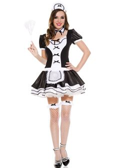 Sweet Majestic French Maid Womens Costume - You'll have them saying, Oui, Oui! The Sweet Majestic French Maid Women's Costume includes black dress with white apron detail, full skirt and black b French Maid Halloween, French Maid Costume, Maid Outfit, Maid Dress, French Maid Uniform, Sexy Halloween Costumes, Spirit Halloween, Halloween Ideas, Up Girl