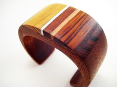Wood Bracelet, Wrist Cuff, Modern, Unique, Small, Harvest Gold. $290.00, via Etsy.