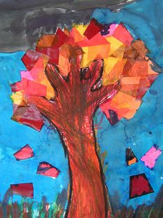 autumn tree make by tracing arm and fall colored tissue paper or construction paper