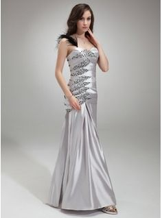 Trumpet/Mermaid One-Shoulder Floor-Length Charmeuse Prom Dress With Ruffle Beading Feather (018005253) - JJsHouse