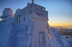 The weather station on the peak of Mount Wendelstein in Upper Bavaria, Jan. 26, 2012.