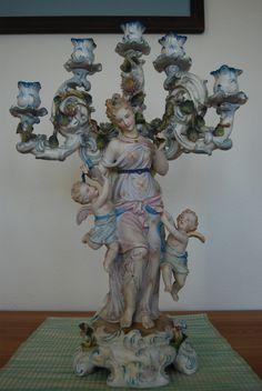 Antique 19c Victorian Sitzendorf Old Dresden German Porcelain Ceramic Candelabra