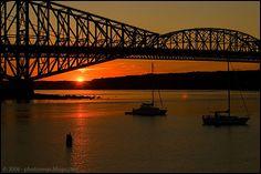 Pont_quebec_soleil Quebec Montreal, Canada, Civil Engineering, Sydney Harbour Bridge, Photos, Around The Worlds, Bridges, City, Places