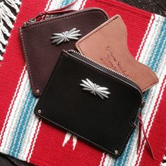 Larry Smith Multi Wallet. Deerskin. (made in japan, silver concho, leather-SR
