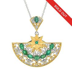 "157-162 - Gems en Vogue Italy 2.34ctw Emerald Half Circle Pendant w/ 18"" Cable Chain"