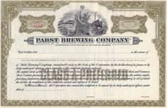 Great Pabst Brewing Company stock certificate circa Rare Depression issue for brewers. Great collectible for the beer enthusiast. Marquette University, University Of Wisconsin, Money Frame, Old Ale, End Of Prohibition, American Beer, Holding Company, Pabst Blue Ribbon, Retro Vector