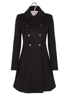 Manteau en drap de laine Noir by PABLO