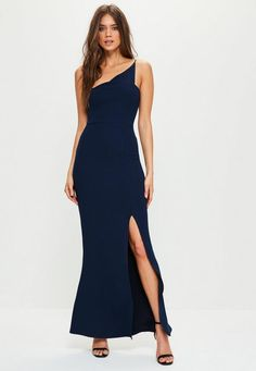 Supercharge your evening game in this maxi dress - featuring a deep navy hue, one shoulder style, split side and crepe fabric.