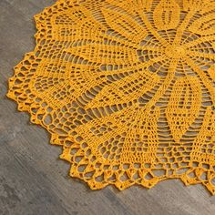 Crochet Doily Lace Orange Handmade Linen Handcrafted Round