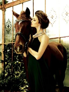 photographer unknown?  beautiful image with a horse...very elegant styling on the model