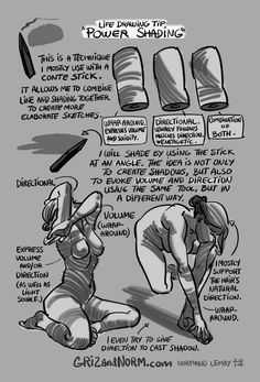 grizandnorm: Tuesday Tips - Power ShadingHere's a technique I use often when attending life drawing sessions, especially nude sessions. I f...