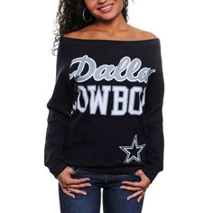 Dallas Cowboys Ladies Joy Crew Fleece Sweatshirt - Navy Blue