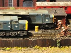 Class 40 diesels at rest.