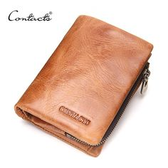CONTACT'S Fashion Men Wallet Genuine Leather Coin Pures and Card Holder Short Wallets 2017 New 3 Color Brand Designer New Purses