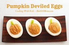 Kid friendly Pumpkin Deviled Eggs - from Cooking with Kids at buildamenu.com