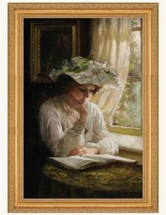 Thomas Benjamin Kennington Lady Reading by a Window print for sale. Shop for Thomas Benjamin Kennington Lady Reading by a Window painting and frame at discount price, ships in 24 hours. Cheap price prints end soon. Reading Art, Woman Reading, Reading Library, Reading Books, Diy Painting, Painting & Drawing, Fine Art, Beautiful Paintings, Belle Photo