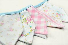 Fabric bunting banner Shabby Spring Garden by birdsANDblossomsGift